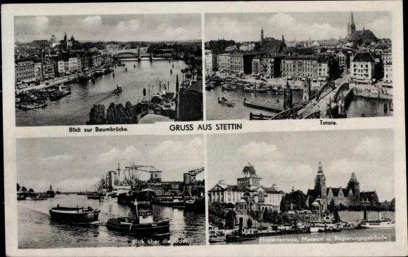 Ak Szczecin Stettin Pommern, Blick zur Baumbrücke, Hakenterrasse, Museum, Regierungsgebäude, Oder