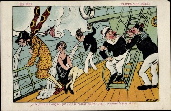 Künstler Ak Tick, S., En Mer, Faites vos jeux, Seekranke Passagiere, Schiff
