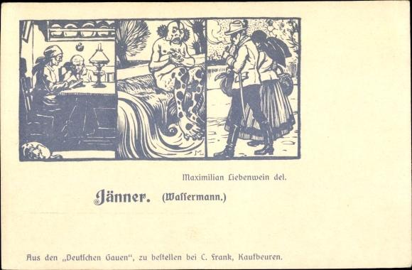 21 Januar Sternzeichen künstler ak jänner, sternzeichen wassermann, aquarius, 21. januar