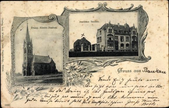 Ak Baukau Herne Ruhrgebiet, Evangelische Kirche, Amtshaus, Wohngebäude