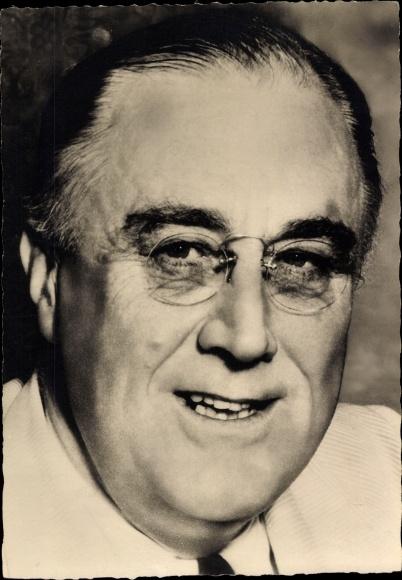 Ak Franklin D. Roosevelt, 32. Präsident der Vereinigten Staaten, FDR, Portrait, Nahaufnahme