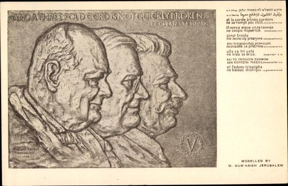 Künstler Ak Gur-Arieh, M., Winston Churchill, Franklin D. Roosevelt, Josef Stalin, Kohelet 4, 12