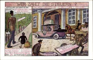 Künstler Ak Deutsche Zentrumspartei, Wer zahlt die Steuern, Preußen, Volkspartei, Staatskasse