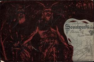 Künstler Ak Sonnwendfeier, Odinskarte Nr. 810, Krieger, gehörnte Helme