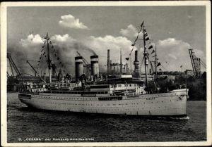 Ak Dampfschiff Oceana, HAPAG, Ansicht Steuerbord