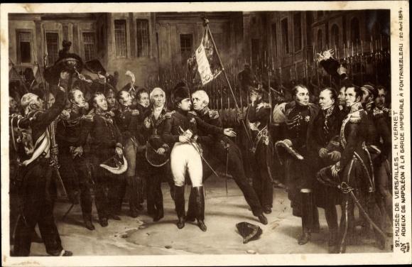 Künstler Ak Vernet, H., Adieu de Napoléon à la Garde Imperiale à Fontainebleau 20.04.1814