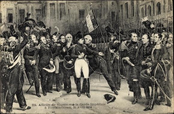 Künstler Ak Adieux de Napoléon à la Garde Impériale à Fontainebleau 20.04.1814