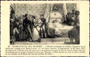 Künstler Ak Schachinger Rötelzeichnung, kl. Mädchen, Napoléon, Naissance du Roi de Rome