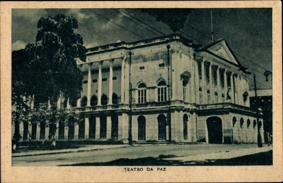 Ak Brasilien, Teatro da Paz, Straßenpartie, Stadtansicht