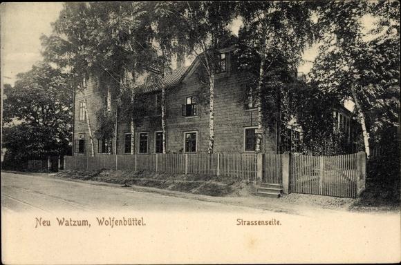 Ak Watzum Uehrde Niedersachsen, Straßenseite, Gebäude