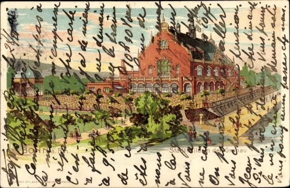 Litho Bonn in Nordrhein Westfalen, Stadthalle in der Gronau, F. Feldmann