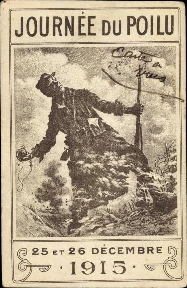 Künstler Ak Journée du Poilu, 25 et 26 Décembre 1915, Französischer Soldat, Granate