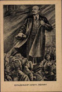 Künstler Ak Sowjetunion, Wladimir Iljitsch Lenin, Revolution 1917