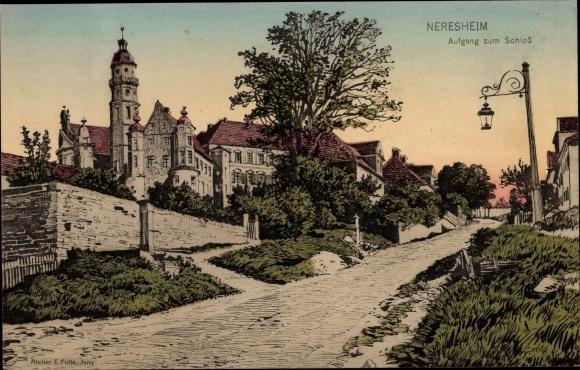 Künstler Ak Felle, Eugen, Neresheim BW, Aufgang zum Schloss