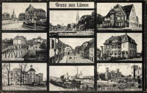 Ak Lünen in Westfalen, Gymnasium, Schützenhof, Markt, Sparkasse, Zeche Victoria