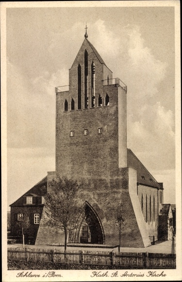 Ak Sławno Schlawe Pommern, Kath. St. Antonius Kirche
