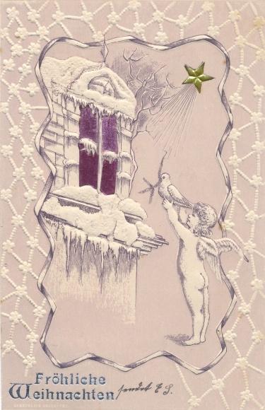 Leuchtfenster Präge Litho Frohe Weihnachten, Engel mit Taube am Fenster, Stern