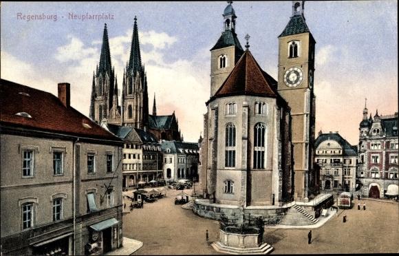 Ak Regensburg, Neupfarrplatz, Dom, Kirche, Markt, Geschäfte, Denkmal