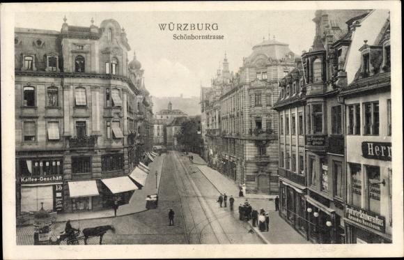 Ak Würzburg am Main Unterfranken, Schönbornstraße, Geschäfte, Cafe, Schuhwaren