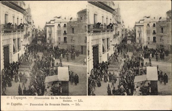 Stereo Ak Sevilla Andalusien Spanien, Procession de la Semaine Sainte
