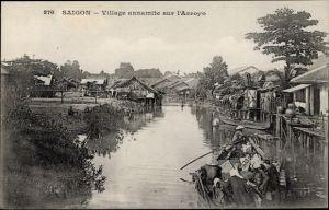 Ak Saigon Cochinchine Vietnam, Village annamite sur l'Arroyo