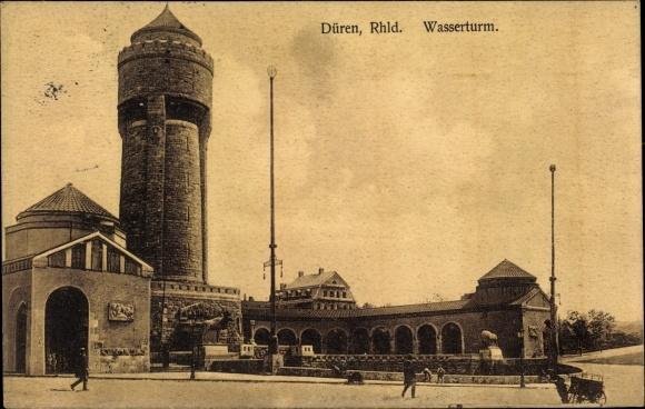 Ak Düren in Nordrhein Westfalen, Wasserturm, Gesamtansicht
