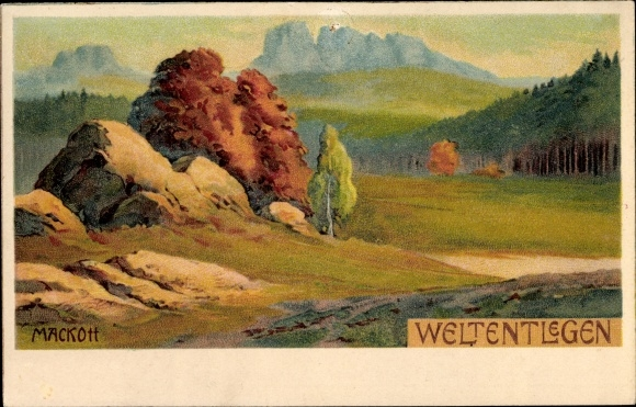Künstler Litho Mackott, Weltentlegen, Landschaftsblick, Deutschland Fahrräder, August Stukenbrok