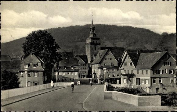 Ak Künzelsau Baden Württemberg, G. W. Veigel, Kirche, Stadtpanorama