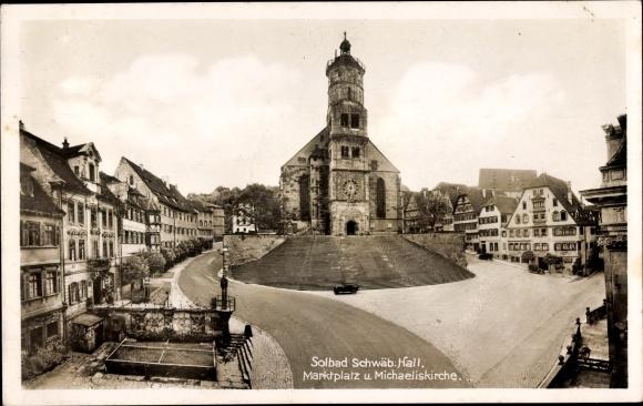 Ak Schwäbisch Hall in Baden Württemberg, Marktplatz u. Michaeliskirche, Häuserfassaden
