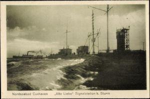 Ak Cuxhaven in Niedersachsen, Alte Liebe Signalstation bei Sturm