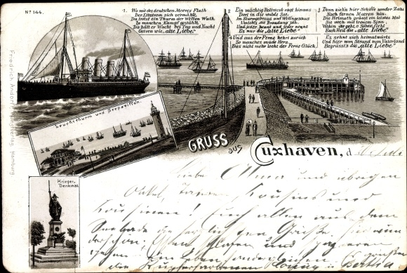 Litho Cuxhaven in Niedersachsen, Leuchtturm, Seepavillon, Kriegerdenkmal, Dampfer