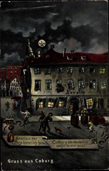 Mondschein Künstler Ak Coburg in Oberfranken, Gasthof Loreley, Betrunkene