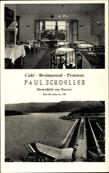 Ak Hasenfeld Heimbach in der Eifel, Cafe Restaurant Pension, Inh. Paul Schoeller, Rursee