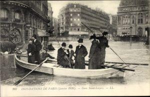Ak Paris Frankreich, Inondations en Janvier 1910, Gare Saint Lazare