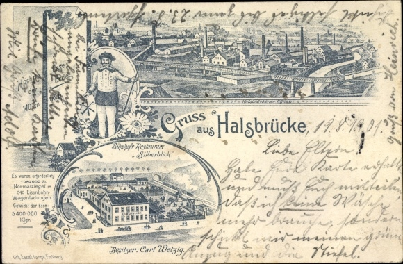 Litho Halsbrücke in Sachsen, Bahnhofsrestaurant Silberblick, Bes. Carl Wetzig, Hohe Esse