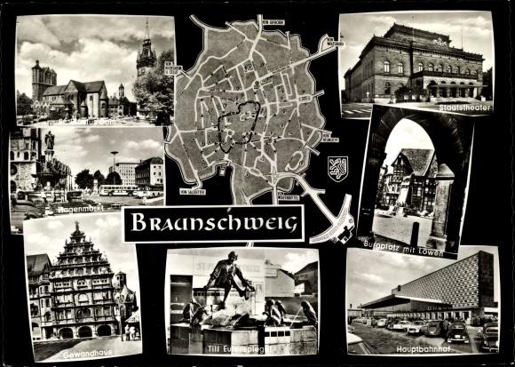 Ak Braunschweig Niedersachsen, St. Blasius Dom, Hagenmarkt, Gewandhaus, Hauptbahnhof, Staatstheater