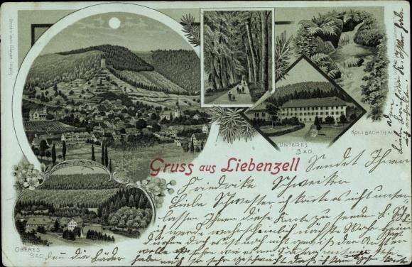 Mondschein Litho Bad Liebenzell Schwarzwald, Unteres u. Oberes Bad, Kollbachtal, Panoramaansicht