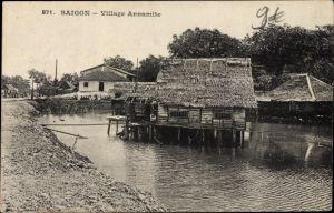 Ak Saigon Cochinchine Vietnam, Village Annamite