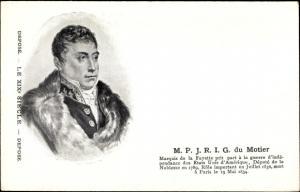 Künstler Ak Marquis de la Fayette, M.P.J.R.I.G. du Motier, General de Division, Französ. Revolution