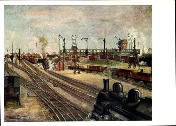 Künstler Ak Gerhardt, P., Verschiebebahnhof, Eisenbahnsignale, Dampflok, Güterwaggons, Uhr