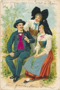 Stoff Präge Ak Elsass, Zwei junge Frauen in Trachten, Mann im Anzug