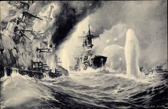 Künstler Ak Stöwer, Willy, Deutsche Kriegsschiffe, Vernichtung russischer Kriegsschiffe