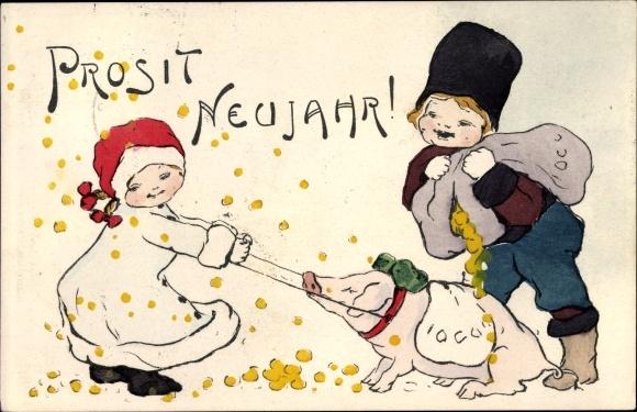 Ak Glückwunsch Neujahr, Junge und Mädchen mit Münzen und Schwein, Trenkler 1171 2