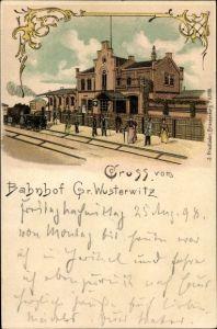 Litho Großwusterwitz Wusterwitz Brandenburg, Bahnhof, Gleisseite, Dampflok
