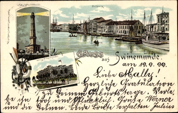 Litho Świnoujście Swinemünde Pommern, Bollwerk, Leuchtturm, König Wilhelm Straße