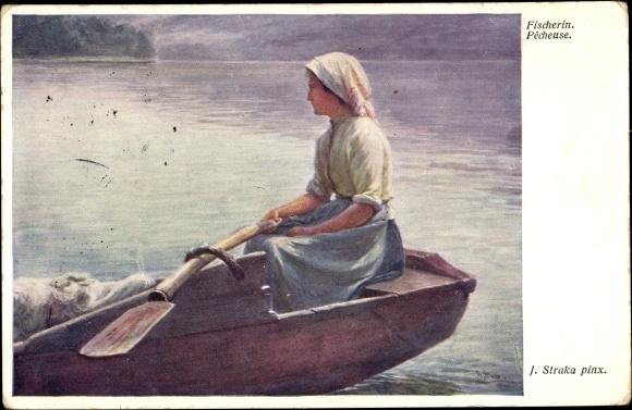 Künstler Ak Straka, Josef, Pêcheuse, Fischerin, Ruderboot, BKWI 1280