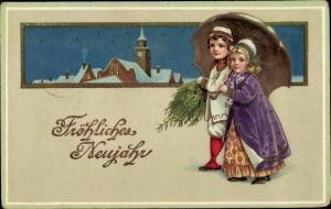 Präge Ak Glückwunsch Neujahr, Kinder, Kinder, Sterne