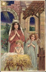 Präge Ak Frohe Weihnachten, Krippenszene, Christkind, Engel