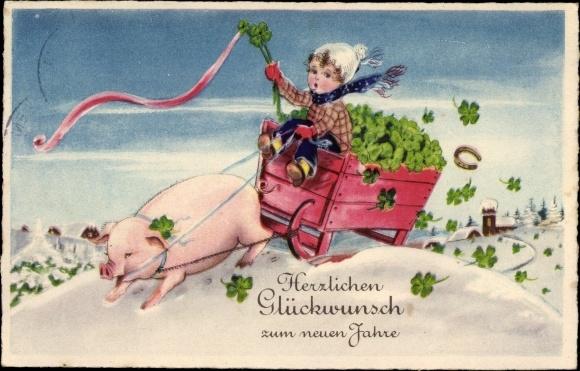 Ak Glückwunsch Neujahr, Schwein zieht einen Schlitten mit Kleeblättern, Junge, Hufeisen