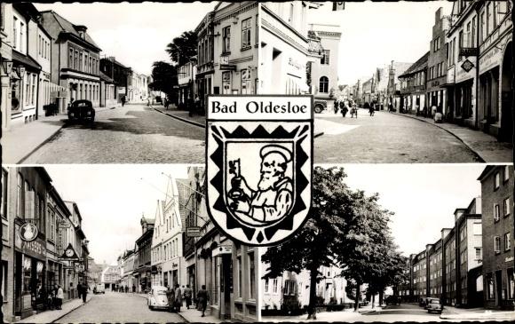 Wappen Ak Bad Oldesloe Schleswig Holstein, Strassenansichten, Kaisers